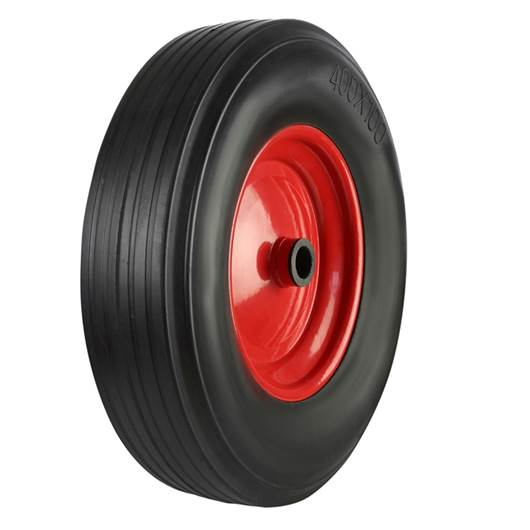 Picture of Black Solid Rubber Tyred Wheels With Coloured Metal Centres